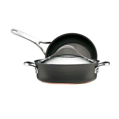 Anolon Nouvelle Copper Hard Anodized Non-stick 3-Piece Pan Set Copper Core Sauteuse Pan