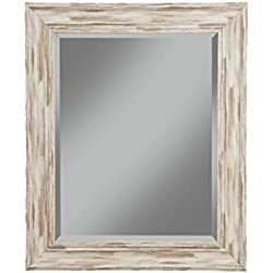 "Sandberg Furniture Farmhouse Wall Mirror, Antique White Wash, 36"" x 30"""