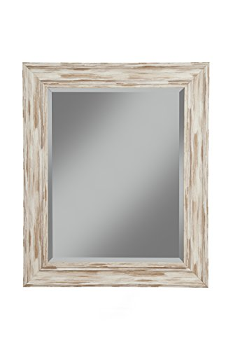 Sandberg Furniture Farmhouse Wall Mirror, Antique White Wash, 36