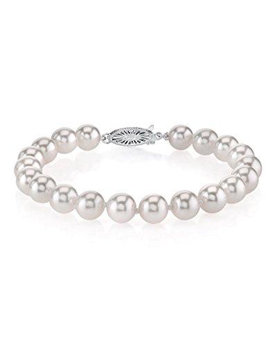 18K Gold 6.5-7.0mm Japanese Akoya Saltwater White Cultured Pearl Bracelet (Pearls Bracelet Strand White Akoya)