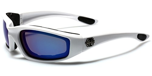 Choppers Padded Bikers Sport Sunglasses WHITE BLUE (Padded Glasses)