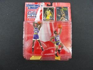 SHAQUILLE O'NEAL / LOS ANGELES LAKERS & KAREEM ABDUL-JABBAR / LOS ANGELES LAKERS 1997 NBA Classic Doubles Kenner Starting Lineup Sports Superstar Collectibles & Exclusive NBA Trading Cards