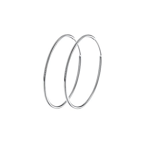 Sterling Silver 925 Large Hoop Earrings Circle Endless Basketball Huggie Round Earring (40mm)