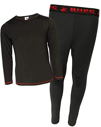 Beverly Hills Polo Club Boys 2-Piece Performance Thermal Underwear Set, Black/Red, Size Medium (8/10)