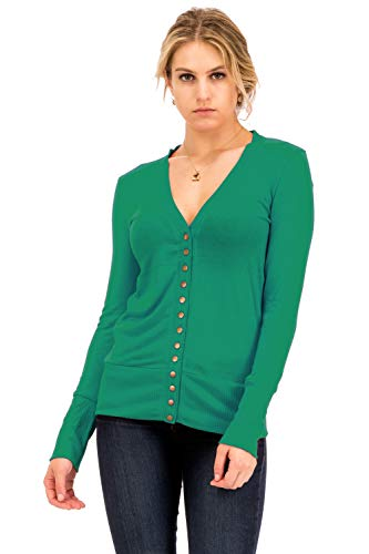 Ribbed Kelly Green (NANAVA Basic Snap Button Ribbed Detail Long Sleeve Sweater Cardigan Kelly Green Size L)