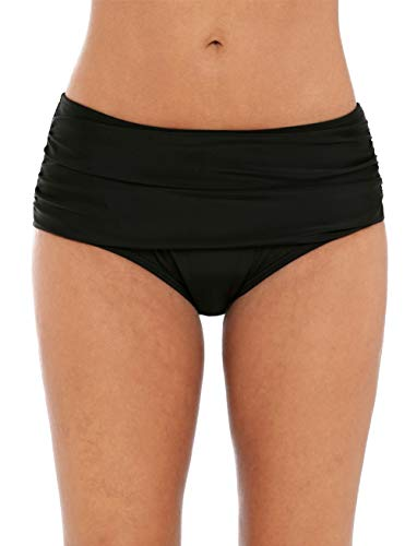 beautyin Swimsuit Bottoms for Women Solid Black Full Coverage Swim Briefs S