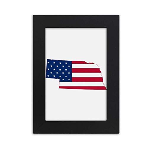 DIYthinker Nebraska USA Map Stars Stripes Flag Shape Desktop Photo Frame Picture Black Art Painting 5x7 inch