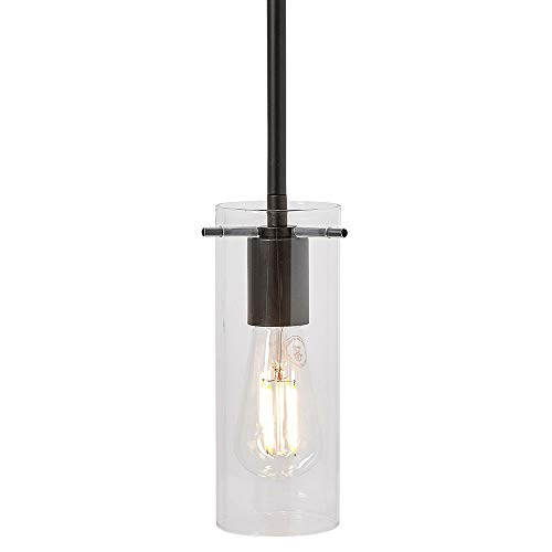 New Simple Modern Clear Glass Pendant Light Black Finish| Contemporary Sleek Cylinder Design | Clear Fixture (Modern Clear Glass)