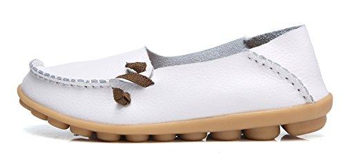 VenusCelia Womens Comfort Walking Cute Flat Loafer White i7VjU