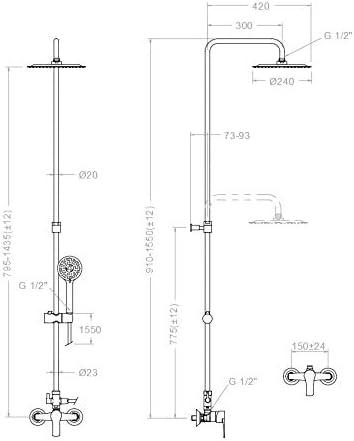 Grifería de ducha - Conjunto monomando de gran ducha con columna ...