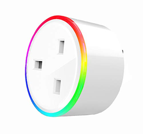 Ancoree Upgraded WiFi Smart RGB Socket with Timer Function,UK Standard RGB  Smart Plug,Wireless APP Remote Control Scene Illumination,Compatible with