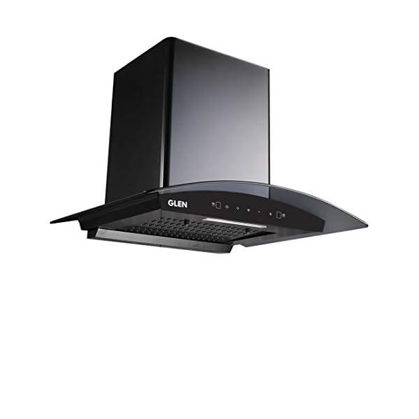 GLEN 60 cm 1050m3/hr Auto-Clean curved glass Kitchen Chimney Filterless Motion Sensor Touch Controls (Senza Black)