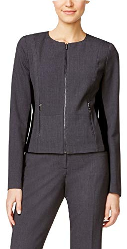 Calvin Klein Fit Solutions Zip-Front Side-Panel Jacket Blazer, Charcoal, 6 ()