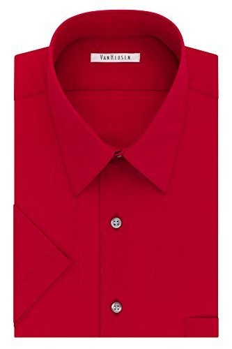 Van Heusen Men's Dress Shirts Short Sleeve Poplin Solid, Flame, 17.5