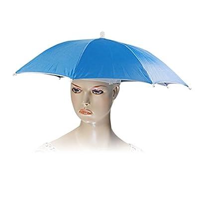URBEST Outdoor Sports Fishing Golf Beach Rain Sun Folded Umbrella Hat Adjustable Blue