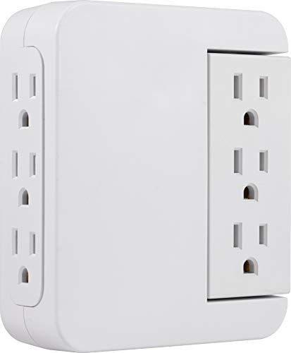 GE Pro Side-Access Swivel Surge Protector, 6-Outlet Wall Tap, 3 Prong, Charging Station, Automatic Shutdown Technology, 1200 Joules, 120V AC, 15A, 1800W, White, 39226 (Outlet Automatic)