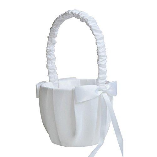 Moligh doll Romantique Blanc Satine de Noeud Papillon, Fete de Mariage, Fille de Fleur, Panier