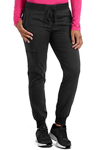 Med Couture Touch Women's Jogger Yoga Scrub Pant, X-Large, Black Tall