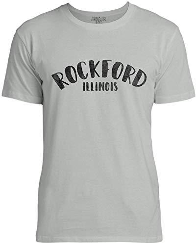 Austin Ink Apparel Womens City of Rockford Illinois Unisex Cotton T-Shirt, Silver Gray, XL -