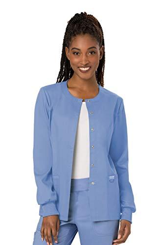 Cherokee Women's Snap Front Warm-up Jacket, Ciel, Small - Nursing Scrub Nurse Uniform Jacket