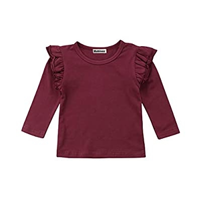 Mubineo Toddler Baby Girl Basic Plain Ruffle Sleeve Cotton T Shirts Tops Tee Clothes