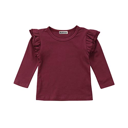 Mubineo Toddler Baby Girl Basic Plain Ruffle Sleeve Cotton T Shirts Tops Tee Clothes (Wine Red(Long Sleeve), 2-3T)