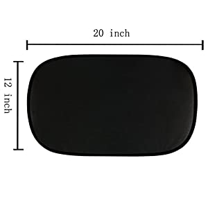 "Car Window Shade Sunshade Protector- 4 Pack of Foldable 80 GSM Windows Shade Cling, 20""x12"" Fit For Side and Rear Windows, Comes with Storage Pouch and 2 Bonus Products"