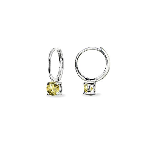 - Sterling Silver Citrine 5mm Solitaire Small Round Huggie Hoop Earrings for Women Teen Girls