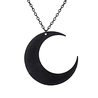 Black crescent moon necklace