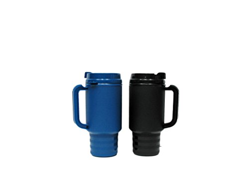 (2 Insulated Coffee Travel Mug, 1 Each Navy & Black 18 Ounces, Double Walled Air Insulated)