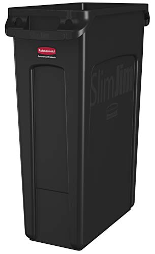 Rubbermaid Commercial Products Slim Jim Plastic Rectangular Trash/Garbage Can with Venting Channels, 23 Gallon, Black ()