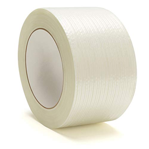 Heavy Duty Strapping Tape, Filament Reinforced Tape Rolls, 4.0 Mil Thick, Clear, 2 Inch x 60 Yards, 24 Pack