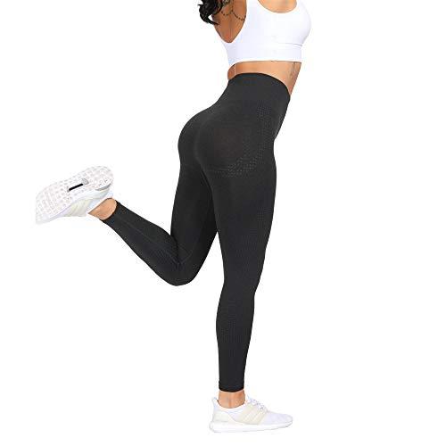 Women Seamless Stretch Yoga Pants Squat Proof Workout Leggings Butt Lifting Gym Fitness Sport Capri (XL,Black) (Best Squat Proof Leggings)