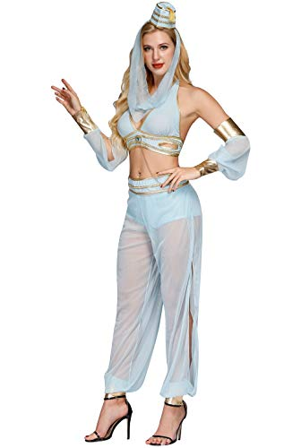 Genie Costume Women - Sexy Dreamy Princess Jasmine Arabian Nights Belly Dancer ()