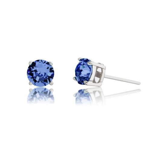 Devin Rose Rhodium Plated Sterling Silver 6mm Round Solitaire Stud Earrings for Women made with Swarovski Crystals (Crystal Sapphire Imitation September - Sapphire Crystal Cut
