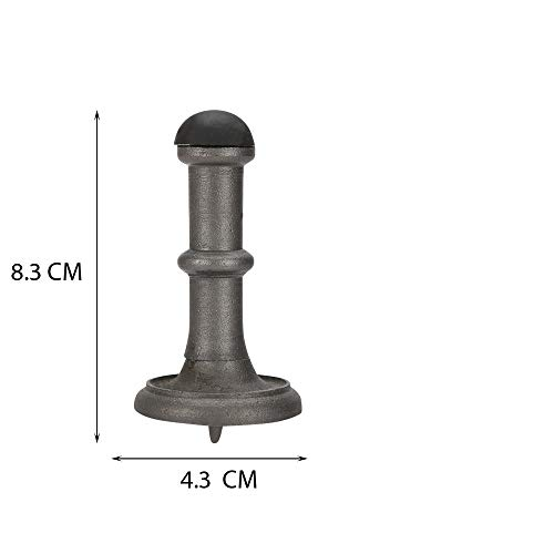 Set of 2 Solid Brass Door Stop, Antique Iron Finish, Base Dia 1 3/4 Inch x Length 3 Inch. Wall Decorative Door Stopper Rubber Bumper, Heavy Duty Solid Rigid Door - Antique Finish Iron Ai