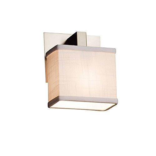 Justice Design Group Lighting FAB-8931-55-WHTE-NCKL Textile Modular 1-Light Wall Sconce Rectangle Brushed Nickel Finish and White Fabric Shade