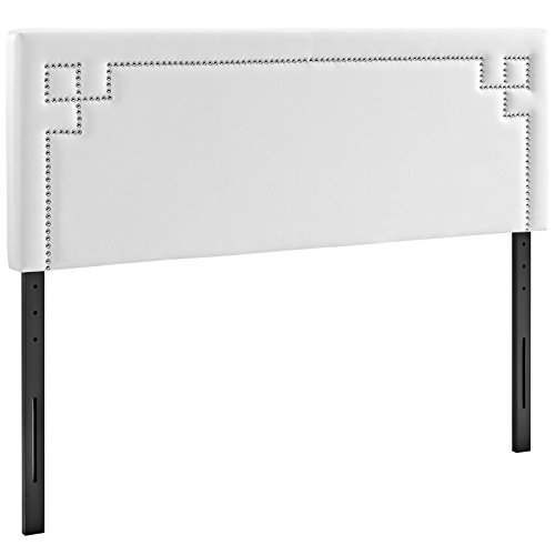 Modway Josie Faux Leather Upholstered Queen Headboard in White with Nailhead Accents