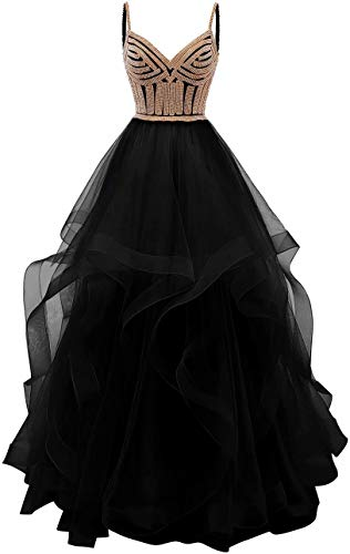 Lilibridal Tulle Crystal Beaded Prom Dresses Tiered Formal Evening Dresses Spaghetti Strap Ball Gown(Black 2)