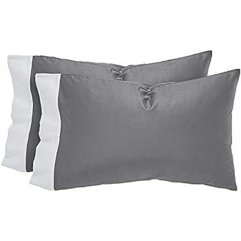 Rivet Supima Cotton Envelope Closure Pillowcases, Set of 2, Standard, Pewter / White