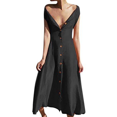 Holly Mid Lace - WONdere Women's Ladies Loose Solid Sleeveless V-neck Mid Calf Dress Summer Dress
