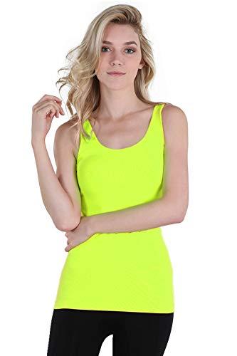 NIKIBIKI Women Seamless Premium Classic Tank Top, Made in U.S.A, One Size (Neon Yellow) - Neon Yellow Body