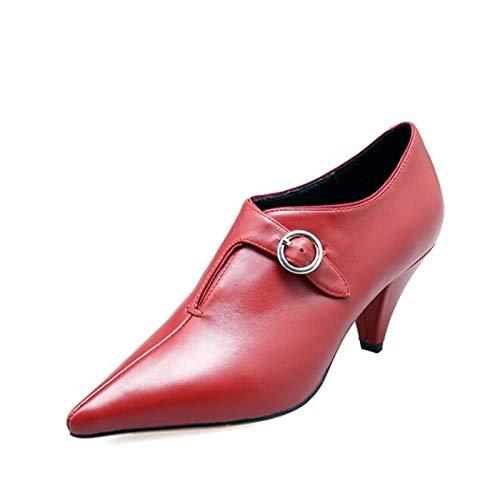 Closed Comfort Toe Shoes Heels Spring Wine Wine Black Heterotypic Women'S QOIQNLSN Heel tR0wa7xq0