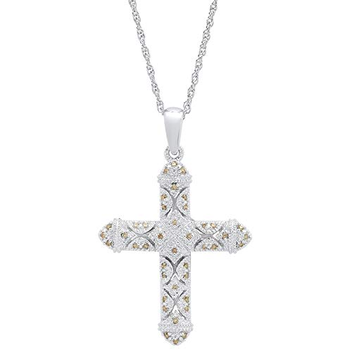 0.25 Carat (ctw) Round Champagne Diamond Ladies Vintage Style Cross Pendant 1/4 CT, Sterling Silver