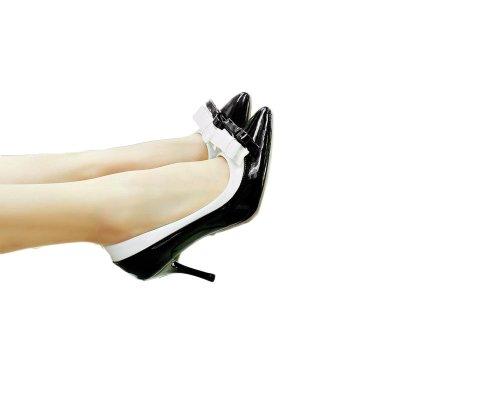 Charme Voet Damesmode Strikjes Hoge Hak Stiletto Mary Jane Pump Puntige Schoenen Zwart