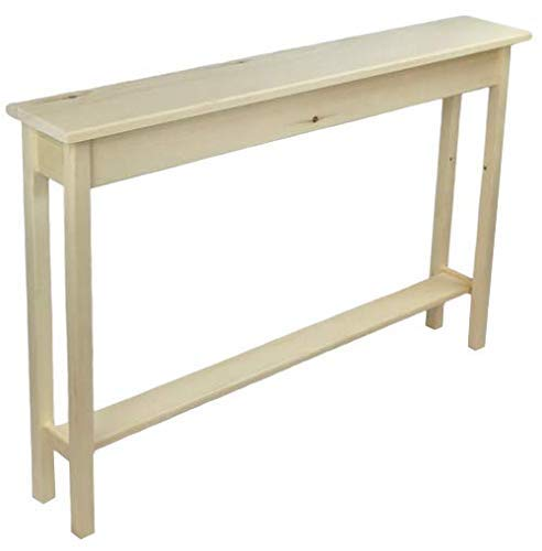 """Hall 36/"""" Narrow Unfinished Pine Console Sofa Wall Table With Shelf"""