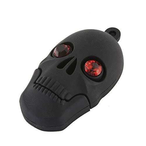 (3C Light 32GB USB 2.0 Creative Black Skull Shape Flash Drive Data Storage Thumb Drive Pen Drive Keychain Jump Drive Memory Stick Gift (32GB, Black Skull))