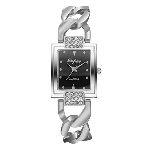 (Womens Quartz Bangle Wristwatch Luxury Rectangle Dial Mesh Bracelet Watch JHKUNO (C))