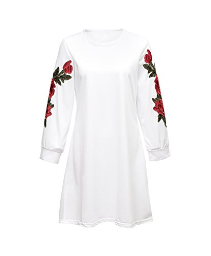 Xintianji Women Bottoming Shirt Long Sleeve Basic Soft Fit Casual Dress Printed Shirt White-M