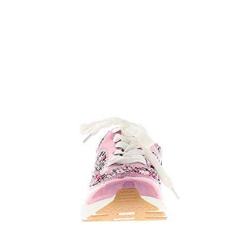 Baskets compensées femmes roses avec incrustations laine